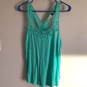 Turquoise tank top with lace